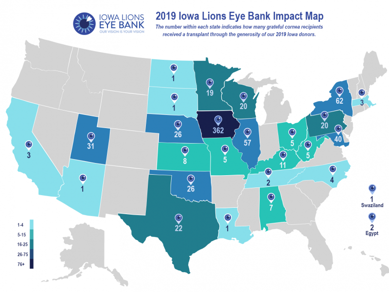 Iowa Lions Eye Bank 2019 impact map visual