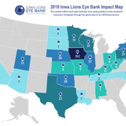 Iowa Lions Eye Bank 2019 impact map visual
